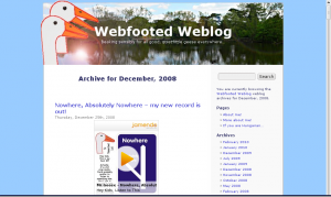 "Mr. Goose's ""Webfooted Weblog"" screengrab"